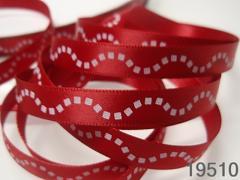 Stuha vánoční červená /vlnky 10mm, svazek 3metry