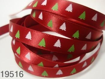 Stuha vánoční červená /stromečky 10mm, svazek 3metry