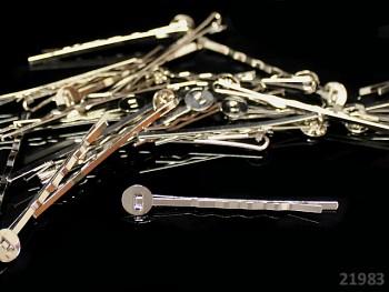 Vlasová spona s lůžkem 8mm - platinová, bal. 5ks