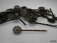 Vlasová spona s filigránovým lůžkem - kulatá, bal. 2ks