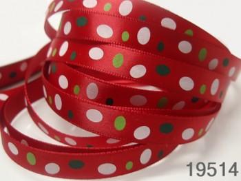 Stuha vánoční červená /oválky 10mm, svazek 3metry