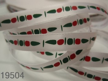Stuha vánoční bílá /šišky 10mm, svazek 3metry