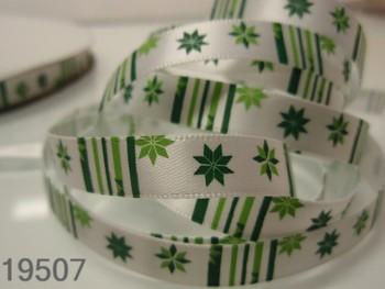 Stuha vánoční bílá /tisk 10mm, svazek 3metry