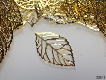 Kovový přívěsek velký list zlatý, bal. 2ks