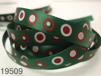Stuha vánoční zelená/kolečka 10mm, svazek 3metry