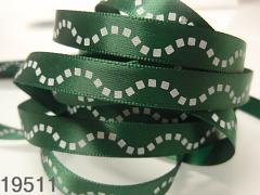 Stuha vánoční zelená/vlnky 10mm, svazek 3metry