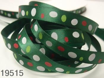 Stuha vánoční zelená/oválky 10mm, svazek 3metry