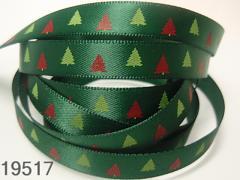 Stuha vánoční zelená/stromečky 10mm, svazek 3metry