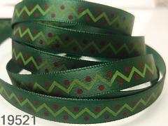 Stuha vánoční zelená/cik-cak 10mm, svazek 3metry