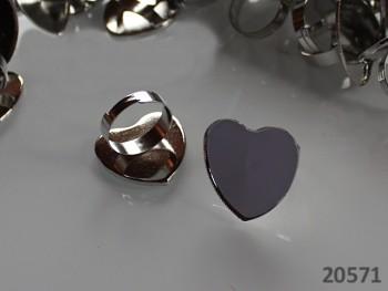 Základ pro prsten 18mm s lůžkem srdce platina, á 1ks