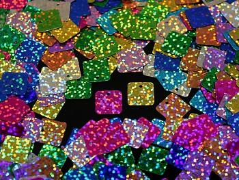 Flitry hologramové čtverce MIX, bal. 3g