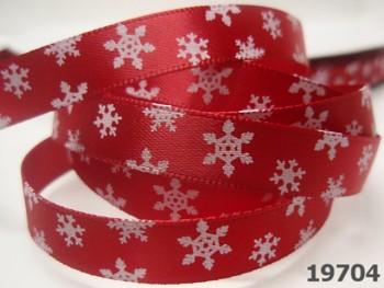 Stuha vánoční červená / mini vločky 10mm, svazek 3metry