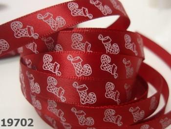 Stuha vánoční červená / boty 10mm, svazek 3metry