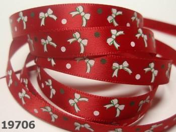 Stuha vánoční červená / mašličky 10mm, svazek 3metry