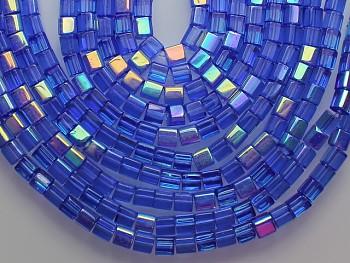 Korálky sklo kostičky 4/4 AB modré, bal. 15ks