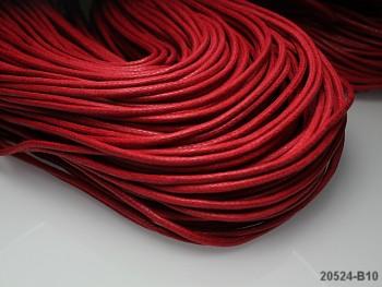 ČERVENÁ voskovaná šňůrka 2mm bižuterní návlekový materiál, svazek 3m