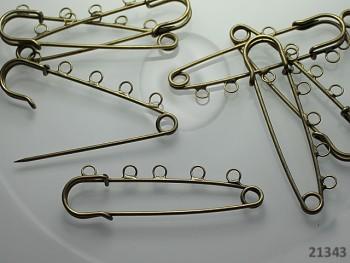 Brožový spínací špendlík / 5oček bronz, á 1ks