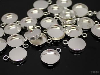 Bižuterní lůžko stříbrné 20/17 L=16mm, bal. 2ks