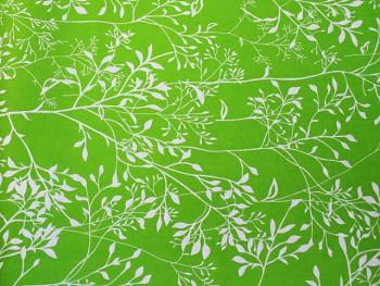 Látka bavlna lístečky zelené