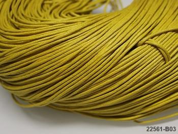 ŽLUTÁ TMAVĚ  voskovaná šňůrka 1,5mm bižuterní návlekový materiál, svazek 5m