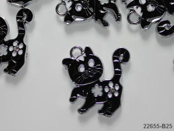 Kovový přívěšek černá kočka, á 1ks