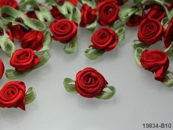 Aplikace růžička s líistem ČERVENÁ,  bal.10ks