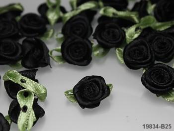 Aplikace růžička s líistem ČERNÁ,  bal.10ks