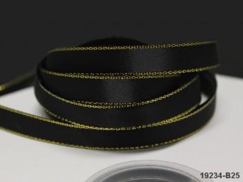 Stuha atlas 10mm zlatý lem ČERNÁ, bal. 3m