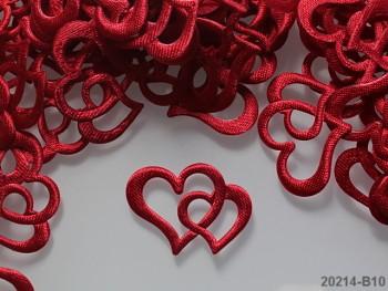 Aplikace srdce dvojité červené, bal. 5ks