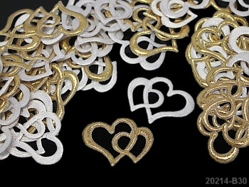 Aplikace srdce dvojité zlaté, bal. 5ks