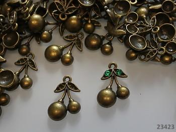 Bronzový přívěsek třešně, bal. 2ks
