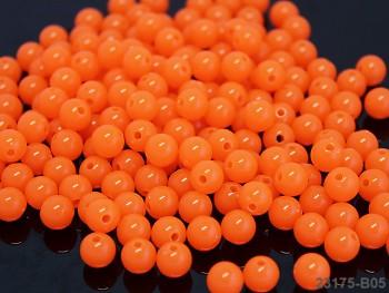 Korálky kuličky 8mm NEON oranžové, bal. 20ks