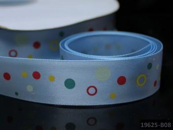 Saténová stuha puntíky 22mm stř.modrá, bal. 2m