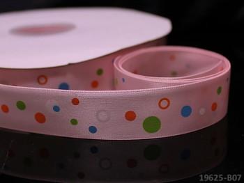 Saténová stuha puntíky 22mm růžová, bal. 2m
