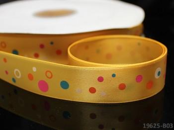 Saténová stuha puntíky 22mm tm.žlutá, bal. 2m