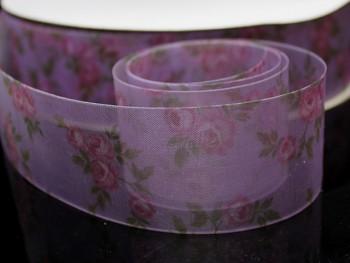 Stuha organzová 38mm růže  fialová, á 1m