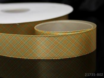 Károvaná saténová stuha 25mm žlutá, bal. 2m