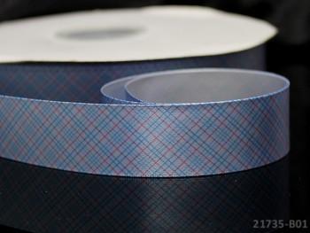 Károvaná saténová stuha 25mm sv.modrá, bal. 2m