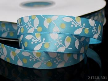 Saténová stuha 16mm květy sv.modrá, bal. 3m