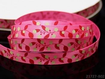 Saténová stuha 10mm květy tm.růžová, bal. 3m