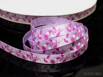 Saténová stuha 10mm květy fialová, bal. 3m