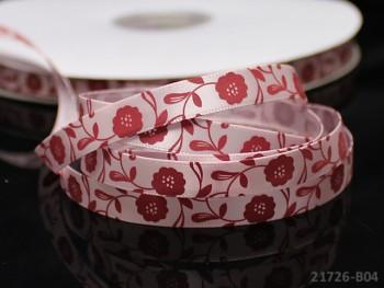 Saténová stuha 10mm květiny sv.růžová, bal. 3m