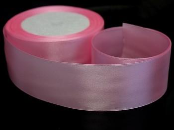 Růžová stuha atlasová 38mm saténová stužka růžová