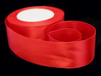 Červená stuha atlasová 38mm saténová stužka červená