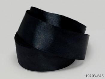 Černá stuha atlasová 38mm saténová stužka černá, á 1m