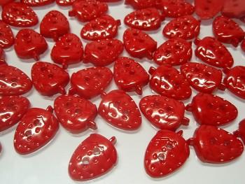 Knoflík jahoda červená, 1ks