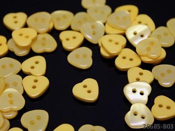 ŽLUTÉ knoflíky srdce 11mm perleťové, bal. 10ks