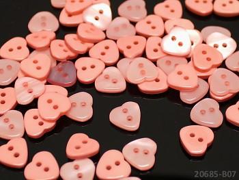 MERUŇKOVÉ knoflíky srdce 11mm perleťové, bal. 10ks