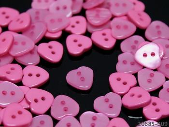 RŮŽOVÉ CYKLÁM knoflíky srdce 11mm perleťové, bal. 10ks