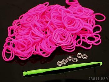 Loom bands gumičky RŮŽOVÉ NEON, 1sada